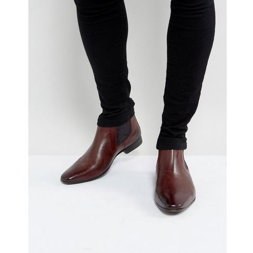 Silver street paisley chelsea boots in burgundy leather - red