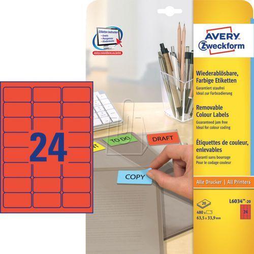 Etykiety kolorowe usuwalne Avery Zweckform czerwone 63,5 x 33,9mm 20 ark./op. L6 ()