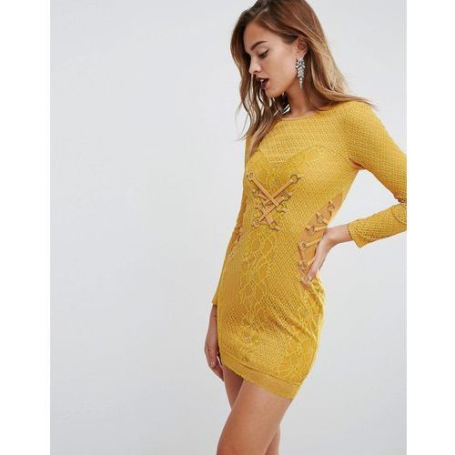 Asos mustard lace long sleeve mini dress with ring detail - yellow