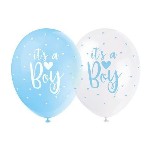 Unique Balony pastelowe na baby shower chłopca - 30 cm - 5 szt. (0011179561155)