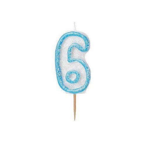 Brokatowa świeczka cyferka sześć 6 niebieska - 1 szt. marki Unique