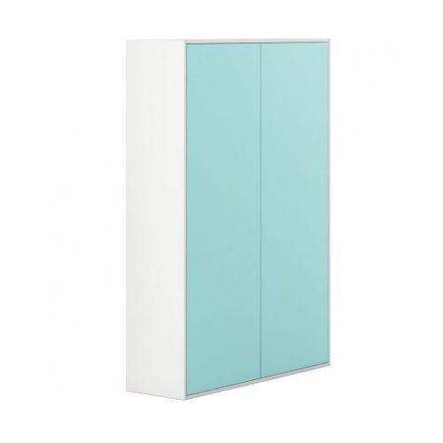 Szafa wysoka z drzwiami white layers, turkusowe drzwi marki Plan
