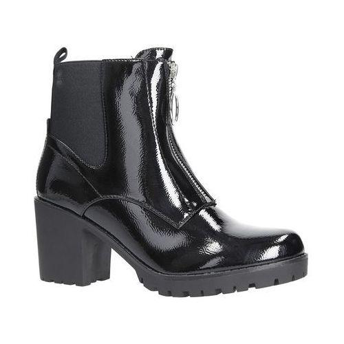 dd60a05a181a5 Czarne botki na słupku z ozdobnym suwakiem Casu 7-X8039B, kolor czarny