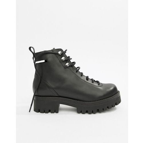 ASOS DESIGN Premium Rivalry leather chunky lace up ankle boots - Black