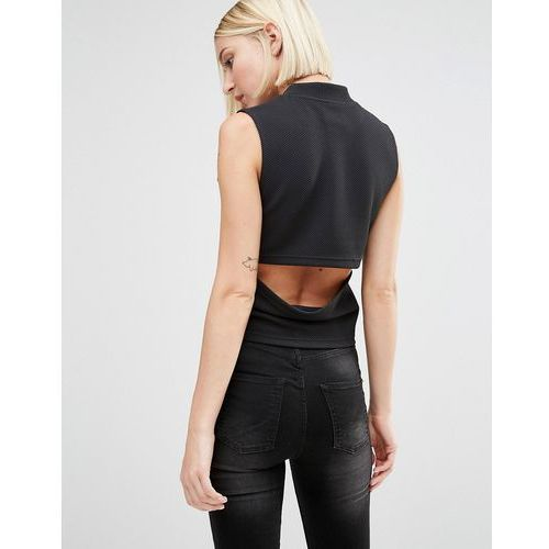high neck top with cut out back - black marki Cheap monday