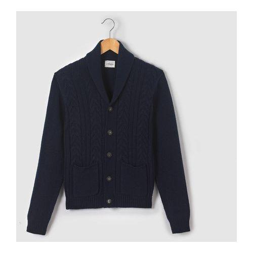 R pop Rozpinany sweter z szalowym kołnierzem z dzianiny w warkocze, 10-16 lat
