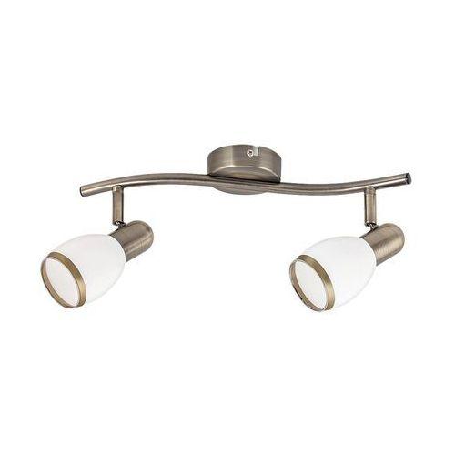 Listwa lampa sufitowa oprawa spot Rabalux Elite 2x40W E14 mosiądz / biały 5971, kolor Biały