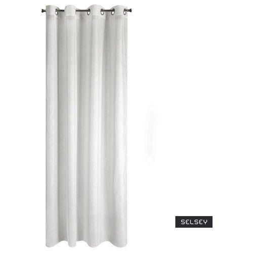 firana priscus 140x250 cm z błyszczącą nicią biała marki Selsey