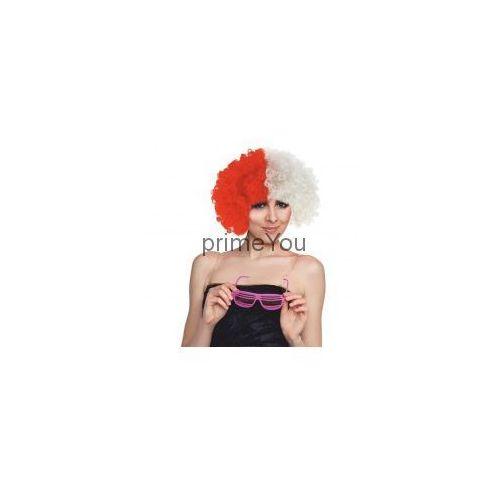 Peruka kibica - afro biało-czerwone 33x22 cm. - produkt z kategorii- Gadżety