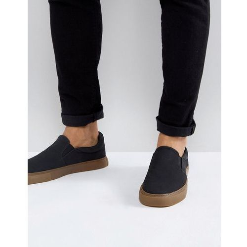 ASOS DESIGN vegan friendly slip on plimsolls in black with gum sole - Black