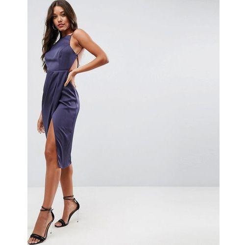 Asos drape back delicate backless midi dress - navy marki Asos design