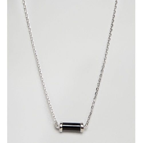 DesignB Silver Necklace With Black Charm In Sterling Silver Exclusive To ASOS - Silver