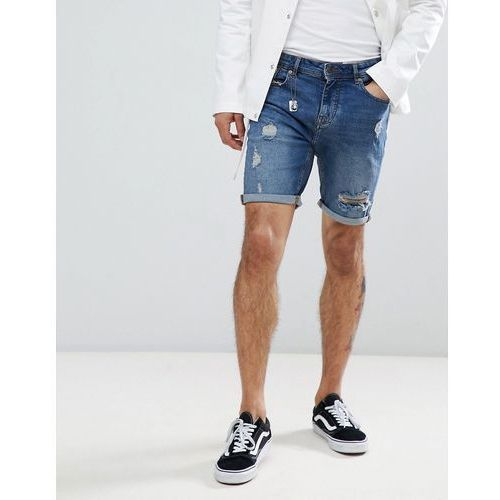 slim fit denim shorts in blue with rips - blue marki Pull&bear