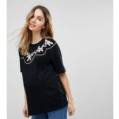 t-shirt with embroidered yoke and fringe detail - black, Asos maternity