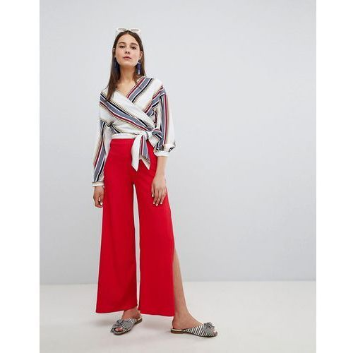 rib side split trouser - red, New look