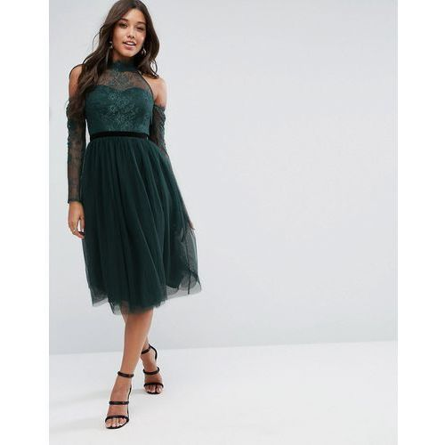 premium lace top tulle midi prom dress with ribbon ties - green marki Asos
