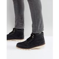 River island borg lines worker boots in black - black