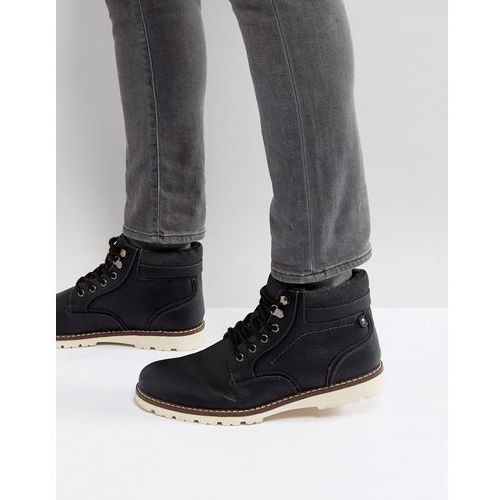 borg lines worker boots in black - black marki River island