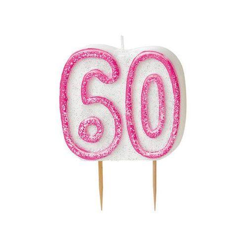 Brokatowa świeczka na 60-tke z różową obwódką - 1 szt. marki Unique