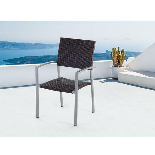 Meble ogrodowe brązowe - krzesło ogrodowe - rattanowe - balkonowe - tarasowe - TORINO (7081459892111)