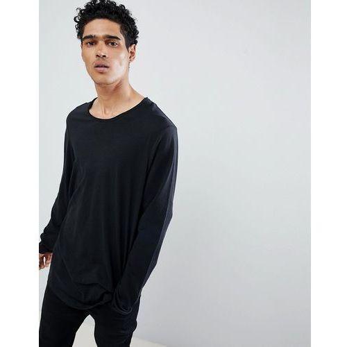 Esprit Longline Long Sleeve T-Shirt With Curved Hem In Black - Black, kolor czarny