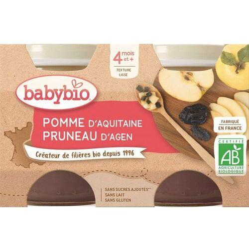Babybio Deser jabłko-śliwka od 4 miesiąca bezglutenowe bio 2x130 g