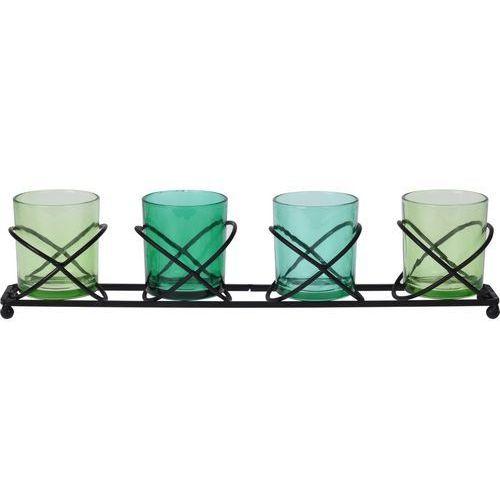 Świecznik dekoracyjny na świeczki do podgrzewaczy, zielony marki 4home