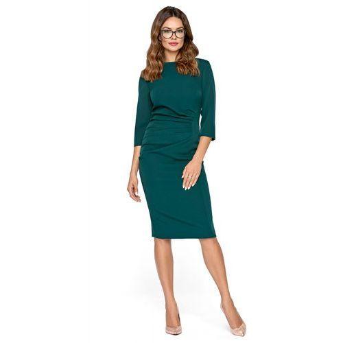 c75c23f83c Kartes moda Klasyczna zielona dopasowana sukienka midi z drapowaniem