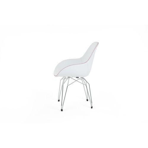 Kubikoff Krzesło DIAMOND CHROM DIMPLE POP skóra diamonddimplepop-leather CHR, kolor biały