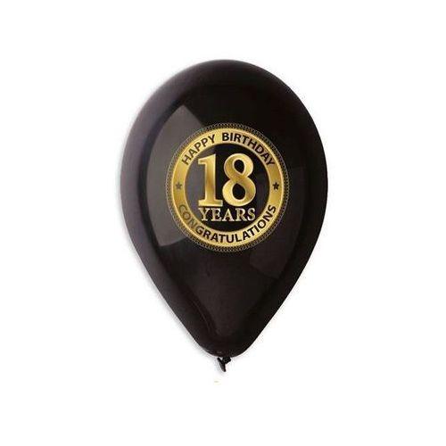 """Go Balony lateksowe z nadrukiem """"18"""" czarne - 30 cm - 5 szt. (8021886316254)"""