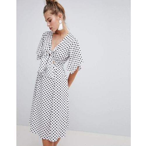 Boohoo Knot Front Polka Dot Midi Dress - White, kolor biały