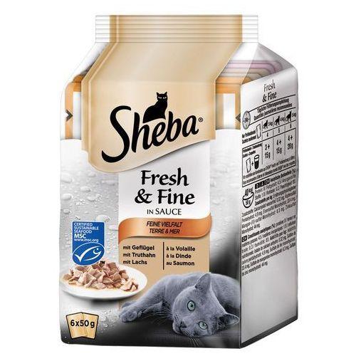 Whiskas Sheba fresh & fine w sosie, 6 x 50 g - kurczak, drób, indyk (4770608247096)