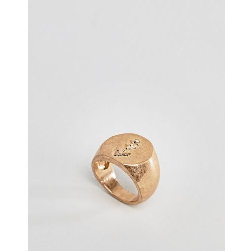 Designb london gold engraved signet ring - gold