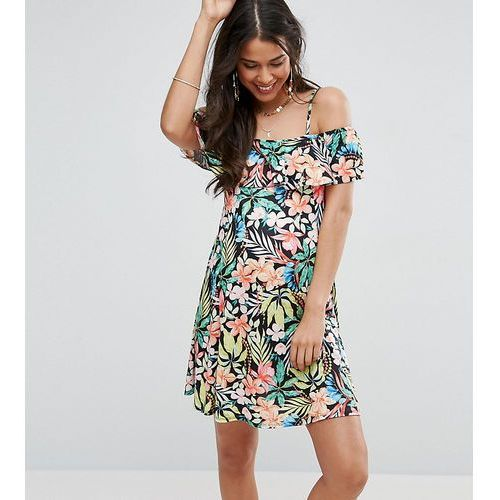 ASOS Maternity Cold Shoulder Sundress With Frill Detail In Tropical Print - Multi
