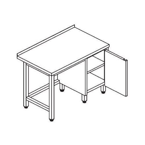 Stół przyścienny z szafką ze stali AISI-304 1400x600x850 mm | EDENOX, E4121-146