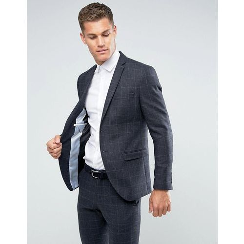 Selected Homme Slim Suit Jacket in Wool Mix With Grid Check - Navy, wełna