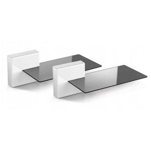 MELICONI Zestaw 2 maskownic do kabli + 2 szklane półki Ghost Cubes Soundbar biały