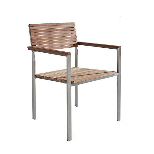 Beliani Krzesło ogrodowe - stal nierdzewna - drewno tekowe - viareggio (7081455623573)