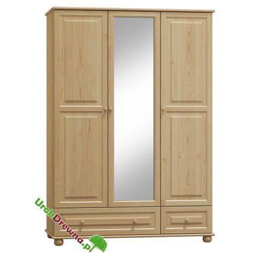Szafa sosnowa 3 drzwiowa z lustrem 120 cm (nr kat 65b) marki Urokdrewna
