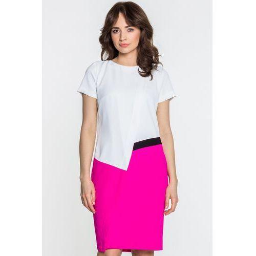 Biało-różowa sukienka - SU, 1 rozmiar