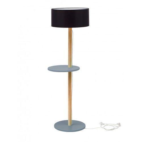 Ragaba Lampa podłogowa drewniana ufo - ciemnoszara/abażur czarny