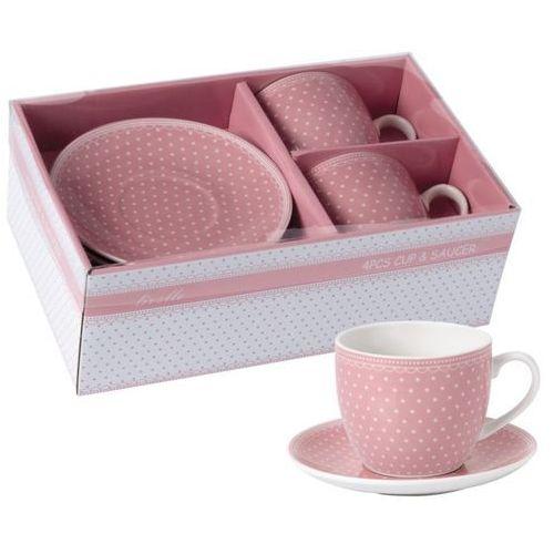 2 filiżanki różowe z porcelany groszki na prezent marki Livello