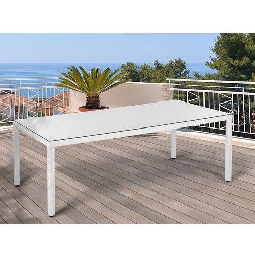 Stół ogrodowy biały - 220 cm - meble ogrodowe - rattan - szkło - ITALY