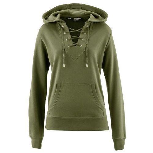 Bluza z kapturem i sznurowaniem ciemnooliwkowy, Bonprix, 32-34