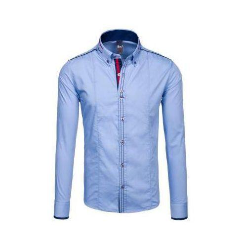 Niebieska koszula męska elegancka z długim rękawem 4707 marki Bolf