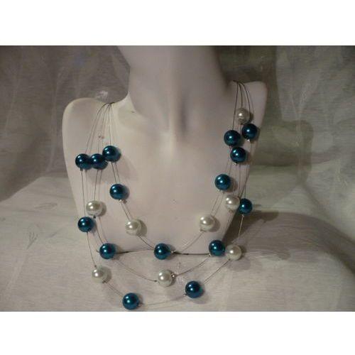 N-00039 Naszyjnik z perełek szklanych, turkusowych i białych, towar z kategorii: Naszyjniki i korale