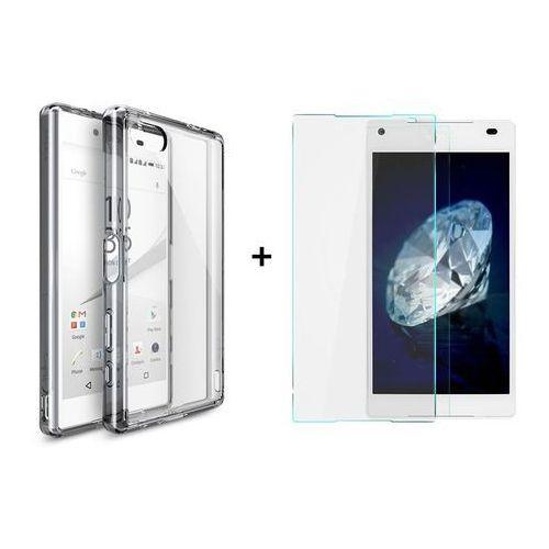 Zestaw | Rearth Ringke Fusion Smoke Black + Szkło ochronne | Etui dla Sony Xperia Z5 Compact