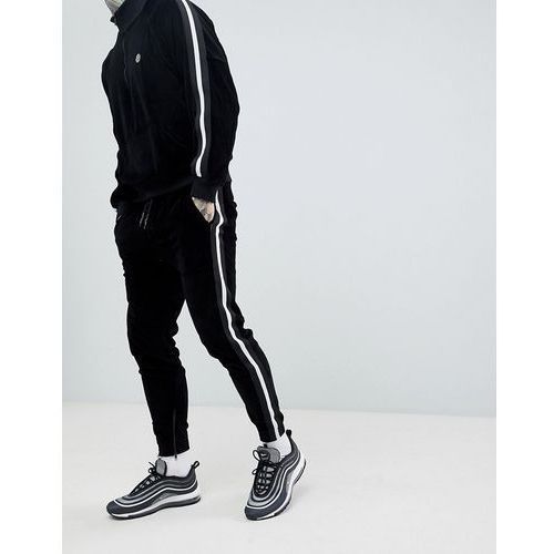 Religion skinny fit velour jogger in black with side taping - black