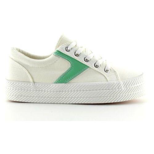 Trampki na wysokiej podeszwie białe blanco marki Buty obuwie damskie
