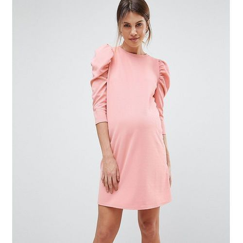 crepe mini dress with puff sleeves - pink, Asos maternity